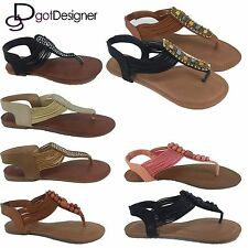 Womens Sandals Gladiator Shoes New Flops T Strap Flip Flat Strappy Toe  Size5-10