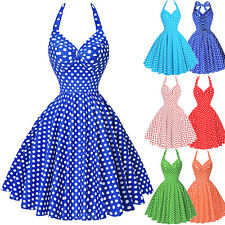 Women Vintage Swing 50s Polka Dots Halter Cocktail Housewife Pin Up Party Dress