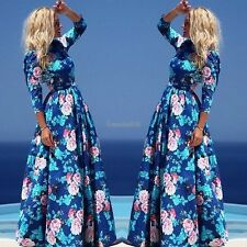2016 Women lady Casual Bohemian Style Sundress Party Long Print Maxi Dress GT56