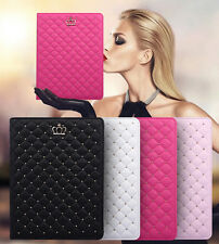 Luxury Crown Grid Soft Leather Smart Case Cover For Apple iPad Mini 4