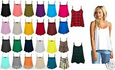 New Ladies Plain Print Swing Vest Sleeveless Top Strapy Cami Ladies Size Flared