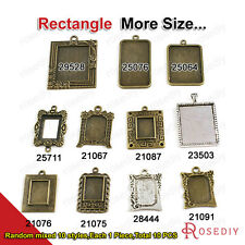 Random mixed style Rectangle Trays Bezels Base Cameo settings Pendants 21067