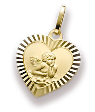 Heart Pendant Guardian Angel 333 Gold + Chain Mothers Day Valentines Day