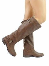 Womens Knee-High Riding Boot Back Stud Fashion Zipper Buckle Brown Montage-83