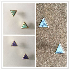 "Triangle Turquoise Stone Studs Featherweight .4""L Gold Tone Plated Post Backs"