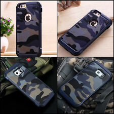 BLUE Camouflage iPhone 4 5 S 6 7 8 Galaxy Military Case Camo Army S8 Plus Rubber