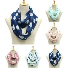 Infinity Scarf Women Hedgehog Pattern Print Voile Circle Scarf Wrap Shawl Stole