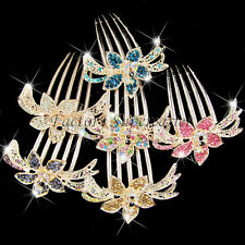 Crystal Rhinestones Flower Hair Jewelry Women Hair Comb Clip Wedding Accessories