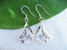 925 Sterling Silver Stamped Hollow Leaf Drop Unique Earrings Jewellery Gifts