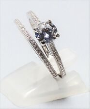 Endless Love 925 Sterling Silver CZ Engagement/Wedding Ring Set