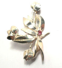 VINTAGE TULIP FLOWER PIN WITH PINK STONE LOVELY LADIES STERLING SILVER BROOCH