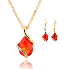 Ladies Women Water Drop Crystal Necklace + Earrings Sets Gold Plated Jewelry