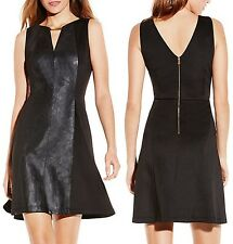 Vince Camuto Black Faux Leather Gold Neckwear Dress w/Stretch Ponte Panel - $168