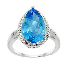 14K White Gold Natural Swiss Blue Topaz Ring Pear Shape 10x15 mm Diamond Accent