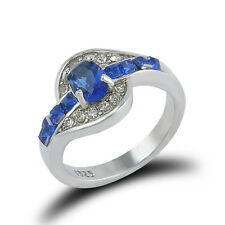 Women Blue Sapphire White Gold plated Engagement Ring Size 7 8 9 Rings Jewelry
