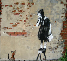 BANKSY THE RAT & THE GIRL STREET GRAFFITI  ART GICLEE PRINT  FINE CANVAS