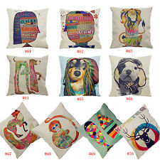 "17"" Decorative Cushion Cover Throw Pillow Case Cotton  Linen Rainbow Colors Fish"
