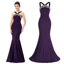 Mermaid PURPLE Bridesmaid Cocktail Evening Dress Long Prom Sexy Formal Ball Gown