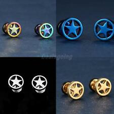 1 Pair of Stainless Steel Circle Five-pointed Star Earrings Studs