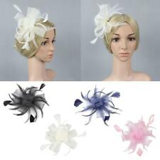 New Flower Mesh Feather Hair Clip Headpin Wedding Party Women Bridal Accessory