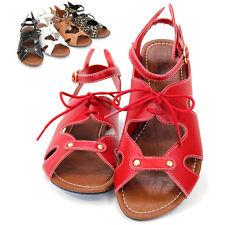 Womens Gladiator Sandals Ankle T-Strap Buckle Open Toe Flat Shoes New