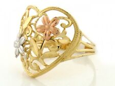 10k / 14k Solid Gold Tri-color Flower Heart Diamond Cut Ring