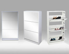 3 DRAWER MIRROR SHOE STORAGE CABINET WHITE GLOSS