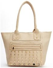 Women Celebrity Designer Style Studded Leather Effect Tote Bag Handbag