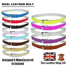 New Handmade 3 Row Holes Skinny 35mm Real Leather Mens Womens Jean Belt UK Made