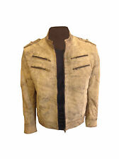 Mens Brown Stylish Leather Biker Jacket Vintage Slim Fit Retro Genuine