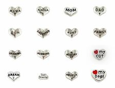 Love Words Heart Floating Charms for Glass living Memory Locket Floating locket