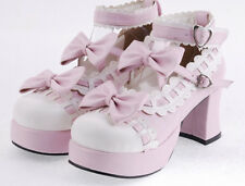 Womens Pumps High Block Heels Sweet Mary Janes Bowknot Lolita Shoes Platform New