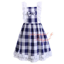 Kids Girl Dress Sleeveless Cotton Plaid Casual Summer Holiday Communion Recital