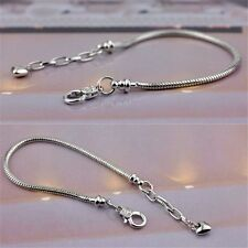 18/19/20CM Silver Plated Lobster Clasp Snake Chain Bracelets Fit European Charm