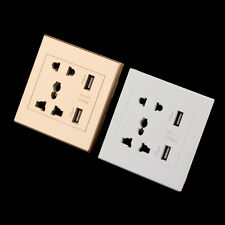 Dual USB Port Electric Wall Charge Station Switch Socket Power Panel Plate E5