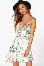 Boohoo Womens Ana Floral Lace Up Skater Dress