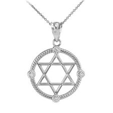 White Gold Rope Open Circle Jewish Star of David 4 Diamonds Pendant Necklace