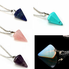 Natural Gemstone Crystal Healing Chakra Reiki Silver Stone Pendant Necklace Bead