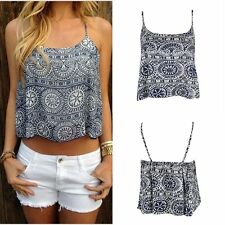 Sexy Women Summer Casual Boho Tank Tops Vest Blouse Sleeveless Crop Tops Shirt