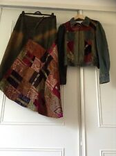 Renee Derhy Denim Maxi Velvet Patchwork Skirt Jacket Hippy Boho Festival Size 16