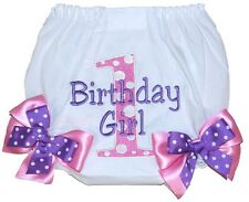 Personalized 1st Birthday Baby Girl Diaper Cover Pink Dots w/ Purple