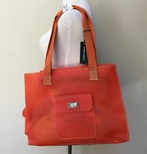 NWT!  Sondra Roberts Double Handle Orange Tote Bag with Zip Top Closure