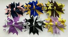 New Handmade Grosgrain Ribbon 10.5cm School/Easter/Party Stacked Bow Hair Clip
