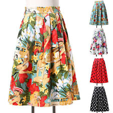 Women ladies Vintage Floral 50s Pinup Swing PARTY Skirt short Skater Dance Dress