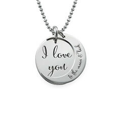 """Sterling Silver """"I Love You to the Moon and Back"""" Pendant Necklace-Personalize"""