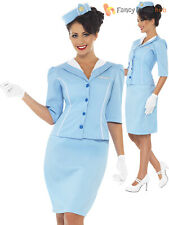 Ladies Air Hostess Costume Adults Flight Attendant Fancy Dress Cabin Crew Outfit