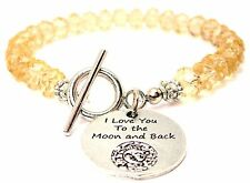 I Love You To The Moon And Back Celestial Crystal Beaded Toggle Style Bracelet