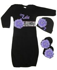 Personalized Black Infant Gown, Hat & Booties Set Zebra & Lav Flowers Free Ship