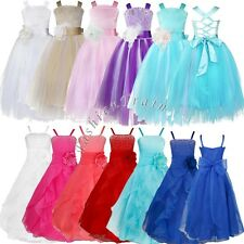 Flower Girl Princess Pageant Wedding Party Formal Birthday Kids Tulle Dress 2-14