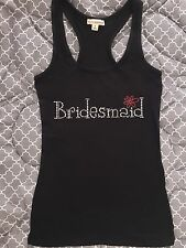 Rhinestone BRIDESMAID/FLOWER Tank Top Shirt Wedding Gift S-L WHITE  COLOR